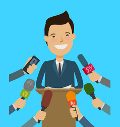 Press conference public speaker interview vector