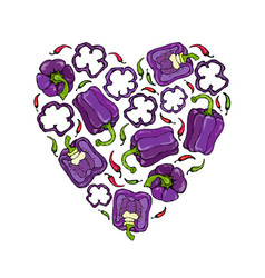 Purple on violet bell peper heart shape wreath vector