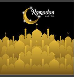 Ramadan kareem greeting card design with golden vector