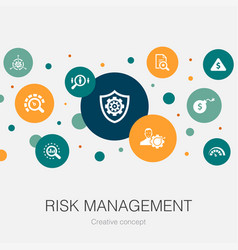 Risk management trendy circle template with simple vector