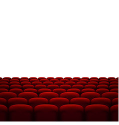 Rows of red cinema or theater seats isolated on vector
