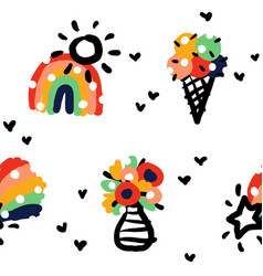 seamless pattern with rainbow ice cream bouquet vector image