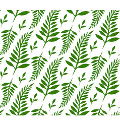 Seamless texture with green ferns and leaves for vector