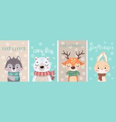 Set cute little cartoon arctic animals wearing vector