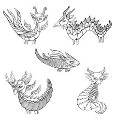 Set five fantasy dragons coloring page for kids vector