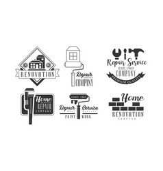 Set of creative logos for repair services vector