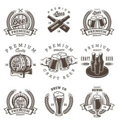 Set vintage beer brewery emblems vector