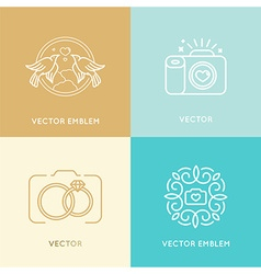 Set wedding photography logo design templates vector