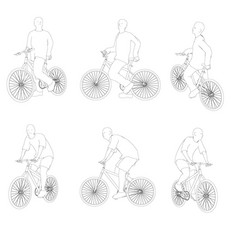 set with contours of a person on a bicycle in vector image