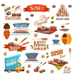 set with sushi banners icons logo and vector image