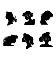 silhouettes of womens hairstyles vector image