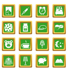 Sleep icons set green vector