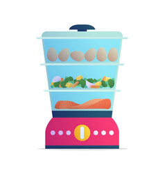 Steamer with healthy food in falt style vector