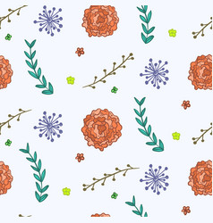 summer pattern with orange flowers and twigs vector image