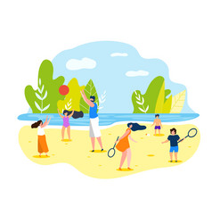 summer sports games on beach for whole family vector image