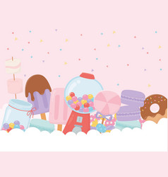 Sweet products bubble gum machine ice cream donut vector