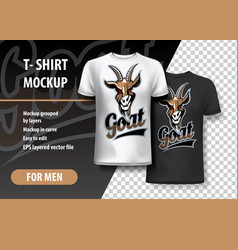 T-shirt template fully editable with goat team vector