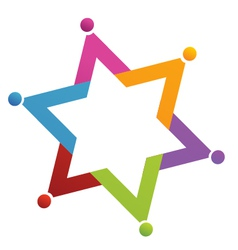 Teamwork star people logo vector image