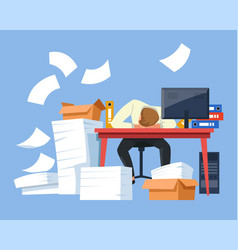 Tired businessman paper work office desk piles of vector