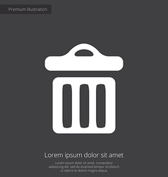 trash bin premium icon white on dark background vector image