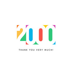 two thousand subscribers baner colorful logo vector image