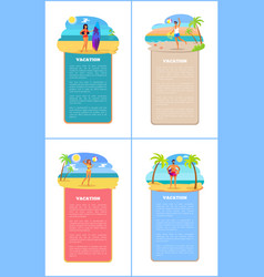 Vacation collection of posters vector