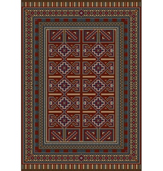 Vintage carpet decorated with geometric designs vector