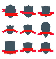 vintage shields set with red ribbons isolated vector image