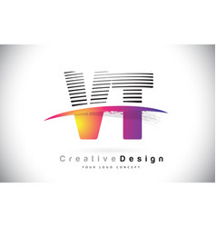 vt v t letter logo design with creative lines and vector image