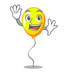 Waving yellow balloon air in flying cartoon vector