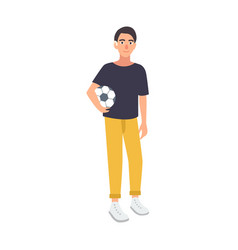 young boy with hearing impairment holding soccer vector image