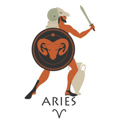 Zodiac in the style of ancient greece aries greek vector