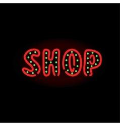 Light neon shop label vector