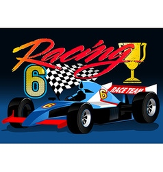 Open wheel blue racing car with trophy and flag vector image vector image