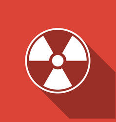 radioactive icon isolated with long shadow vector image vector image