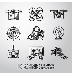 Set of freehand drone icons vector image vector image