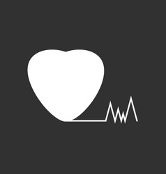 white icon on black background heart with cardio vector image