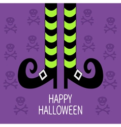 Witch legs with striped socks and shoes happy vector