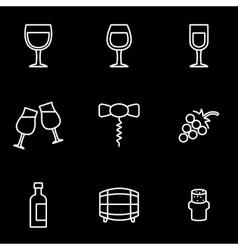 line wine icon set vector image vector image