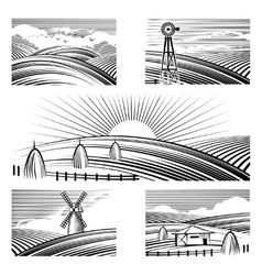 Retro rural landscapes vector image vector image