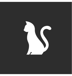Silhouette of pet cat with a tail up abstract vector