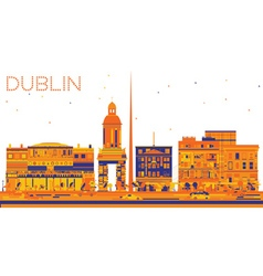 Abstract Dublin Skyline with Color Buildings vector image vector image