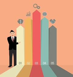 Businessman presenting the marketing infographic vector image
