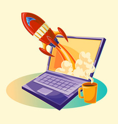 cartoon of the startup concept vector image