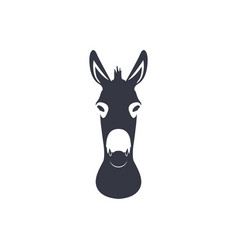 dark blue silhouette head of a donkey vector image