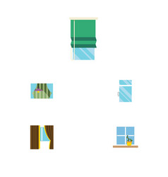 flat icon glass set of glass balcony clean and vector image vector image