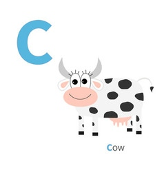 Letter C Cow Zoo alphabet English abc with animals vector image