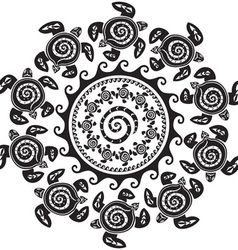 Round pattern with decorated turtles vector image vector image