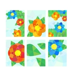 Set of cards with geometrical flowers vector image vector image