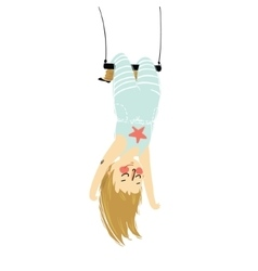 a solo girl hanging upside vector image